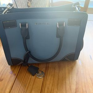 blue leather michael kors purse brand new